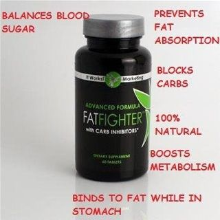 Click here to learn more! Fat Fighters With Carb Inhibitors block 1/3 of fat from high carbed meals. Take 15 to 60 minutes AFTER meals. 100% Natural, Boots metabolism, Prevents fat absorbtion, Balances Blood Sugar and does not contain shellfish. From It Works! Global