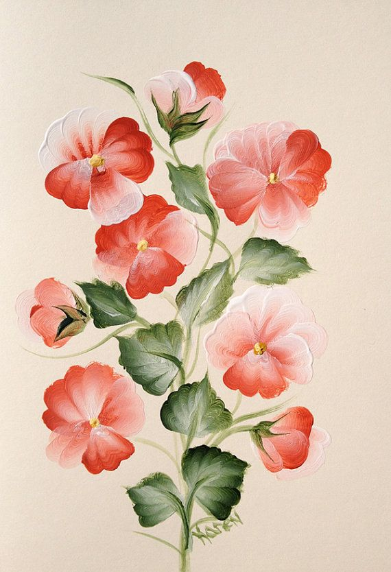 Peach hand painted pansy greeting card cream card peach for Painted christmas cards