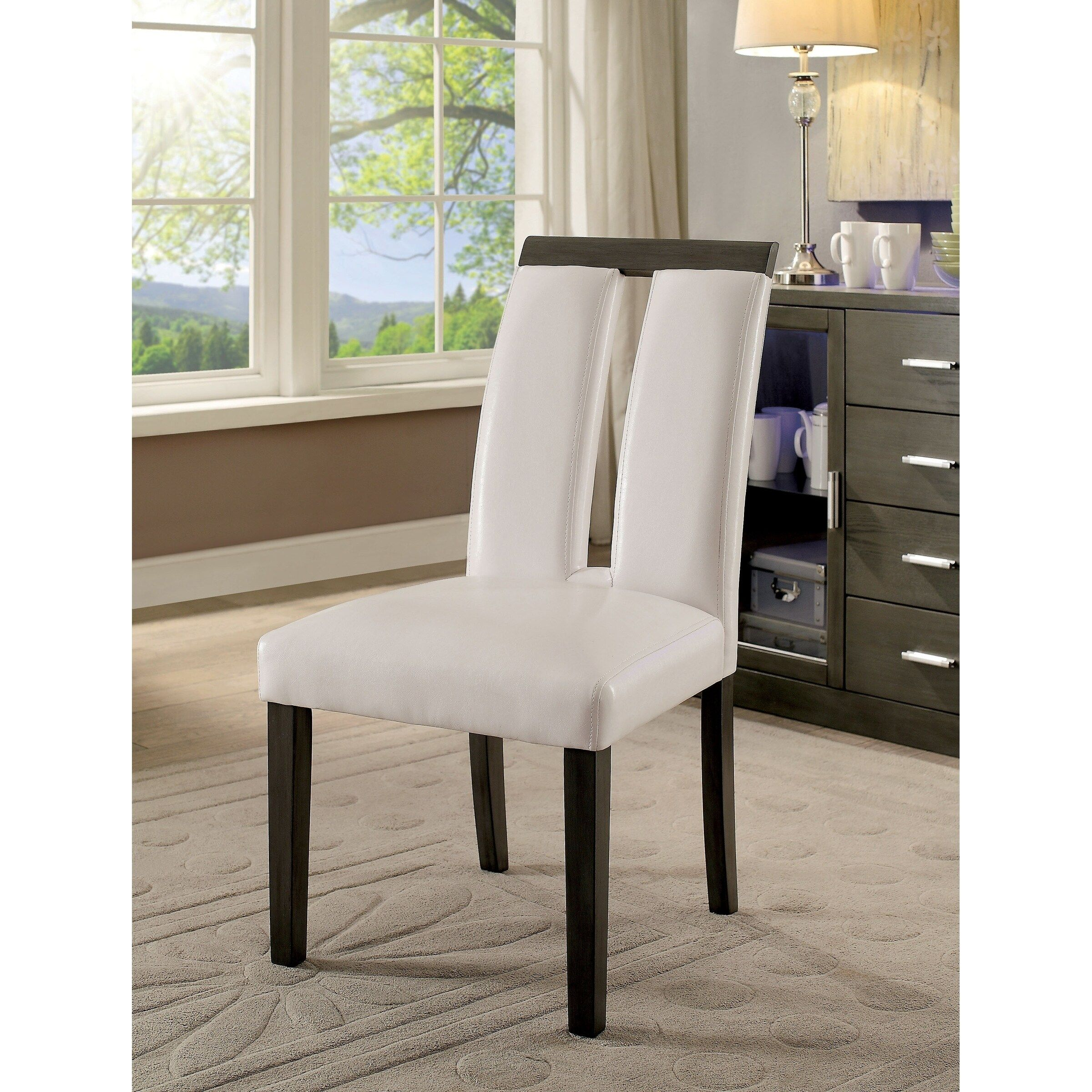 Luminar I Grey White Wood Leatherette Contemporary Side Chair