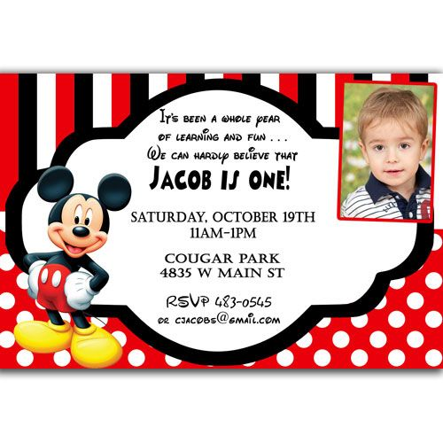 Download Now Mickey Mouse Birthday Invitations Ideas FREE - Mickey mouse 1st birthday invitations template