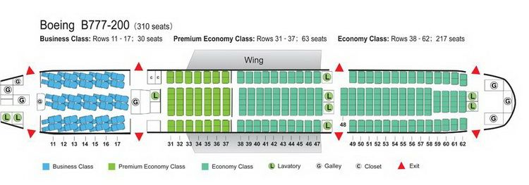 Air China Airlines Boeing 777 200 Aircraft Seating Chart With
