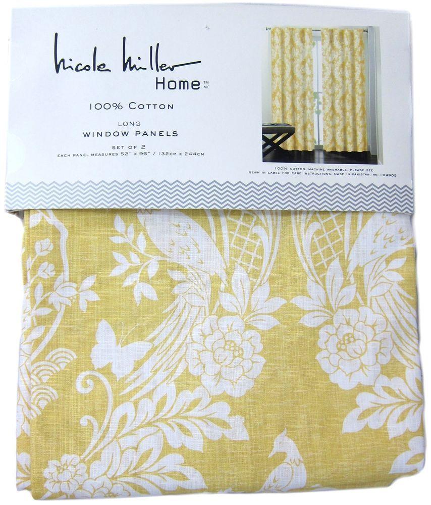 Nicole Miller Yellow Japanese Bird Window Curtain Panel Set Of 2 Drapes Pair 96 Window