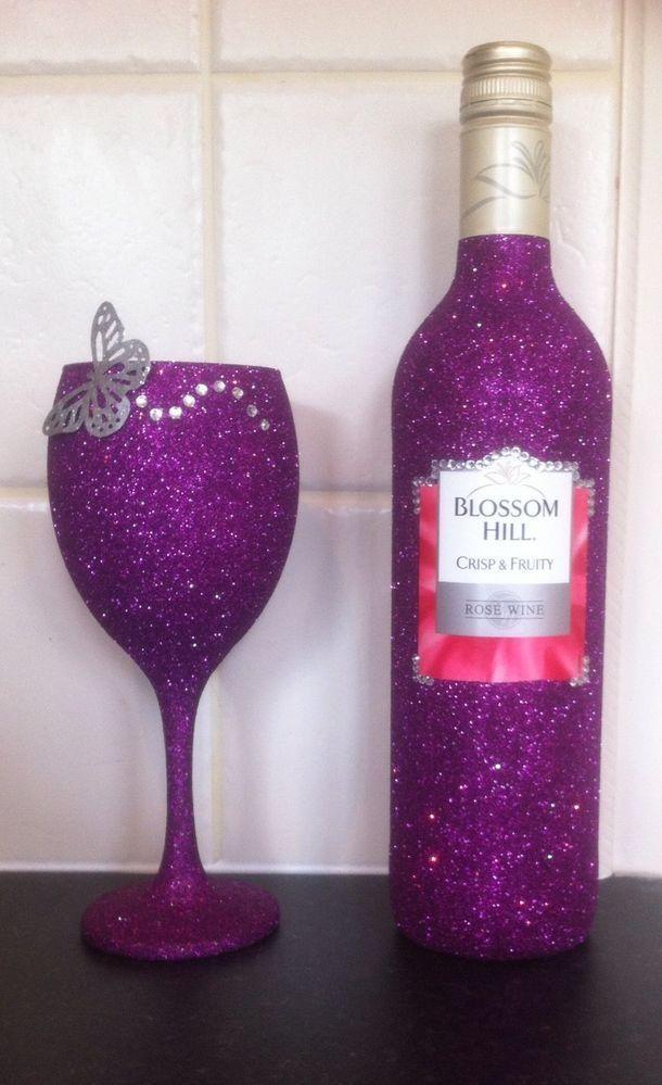 Glittering Wine Glass Bottle Painting Designs Bottles