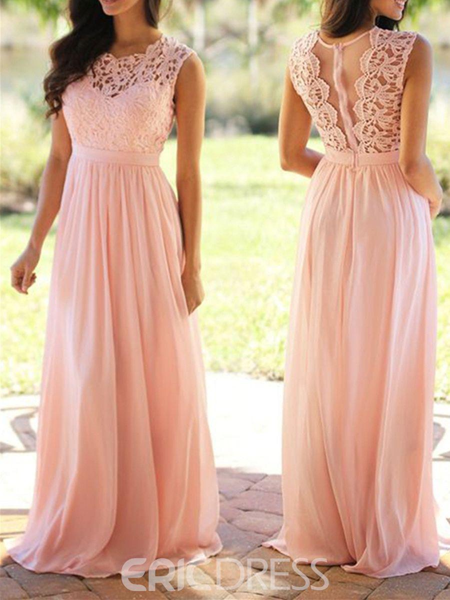 Bridesmaid dress a line long lace wedding dress pinterest