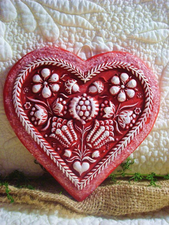 Springerle RED HEART Folk Art Casting by BlackRockFolkArt on Etsy, $16.00