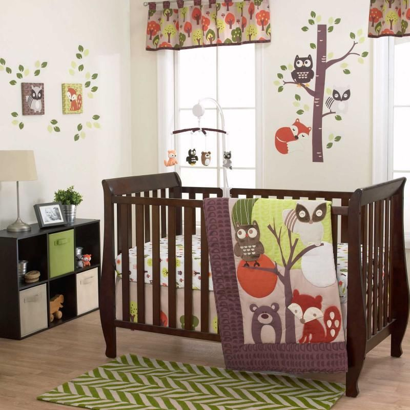 owls fox u0026 raccoon forest animals neutral nursery 3 pc baby crib bedding set