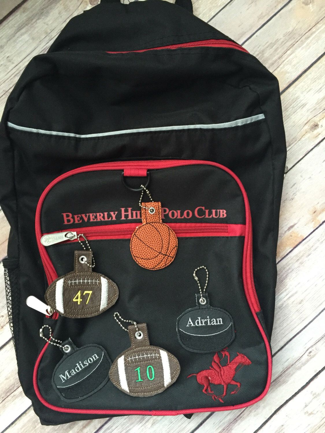 e7a4342952 Sports ID keychains for School bags