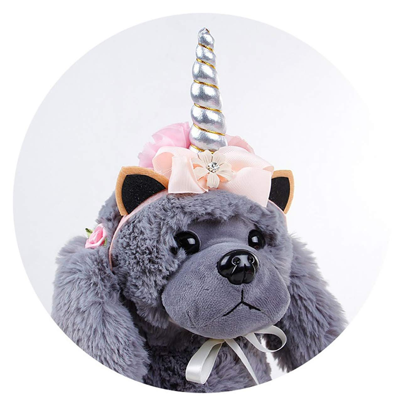 Uheng Pet Halloween Costumes Unicorn Horn Headband Dogs Cats Flower Adjustable Flexible Head Piece Hat Headpiece Cosplay Dogs Cats Christmas Festival Party Gift
