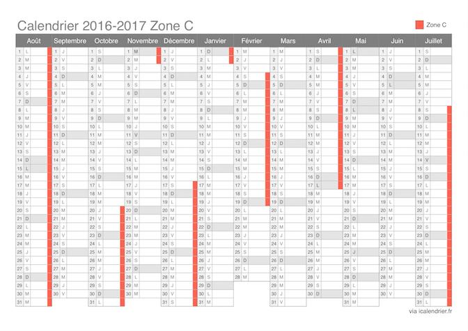 Calendrier des vacances scolaires 2016 2017 de la zone C