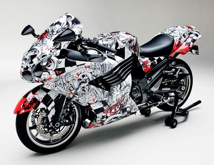 FELLERS Kawasaki ZX Wrapped With Custom Print On M Vinyl - Best custom vinyl decals for motorcycle seat