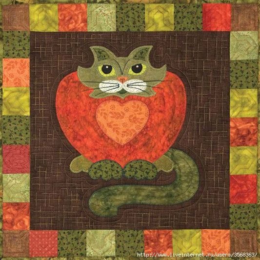 STRAWPURRY Helene Knott Story Quilts Applique Garden Patch  Cats Pattern