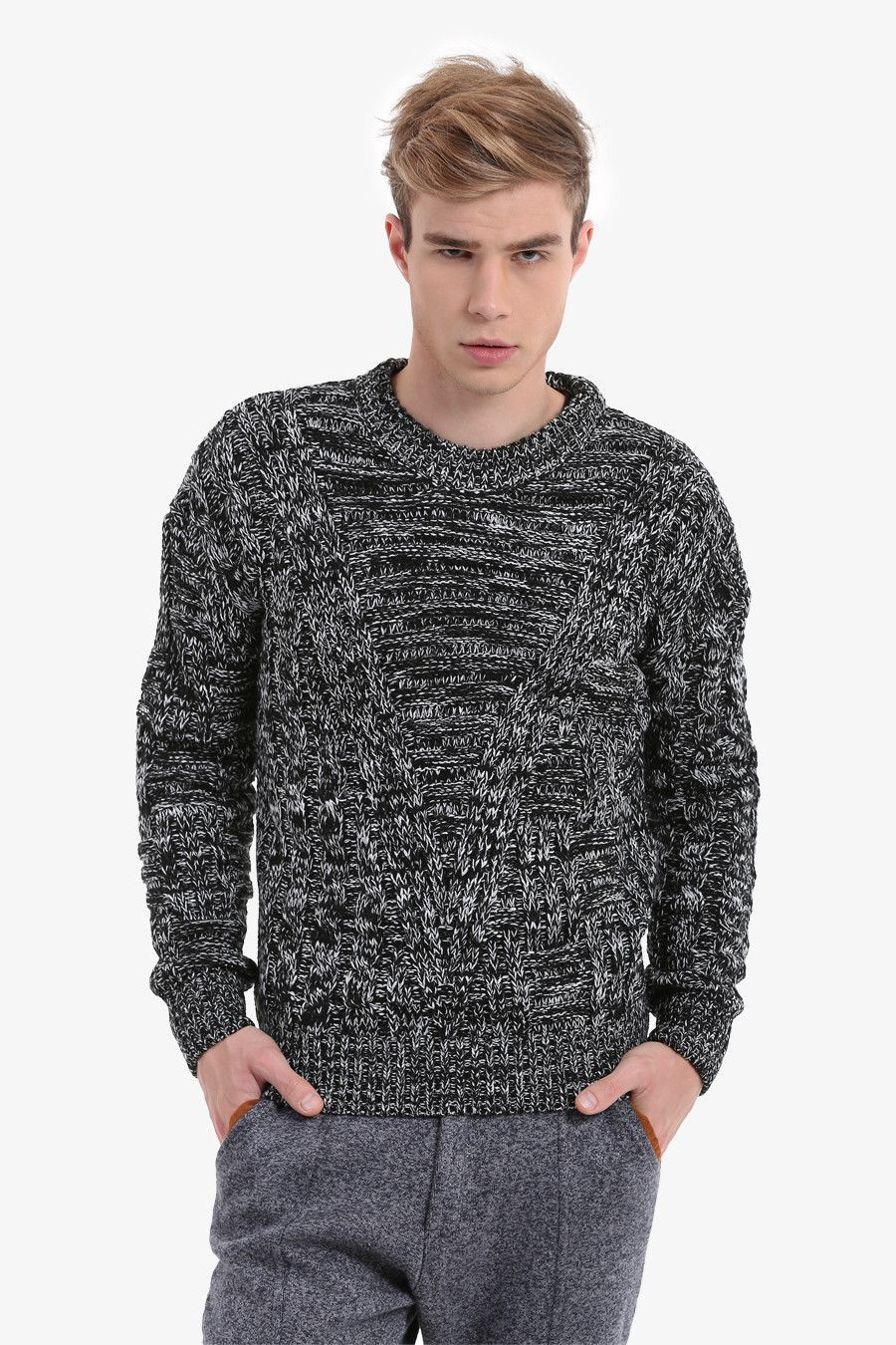Men's Textured Gray Sweater