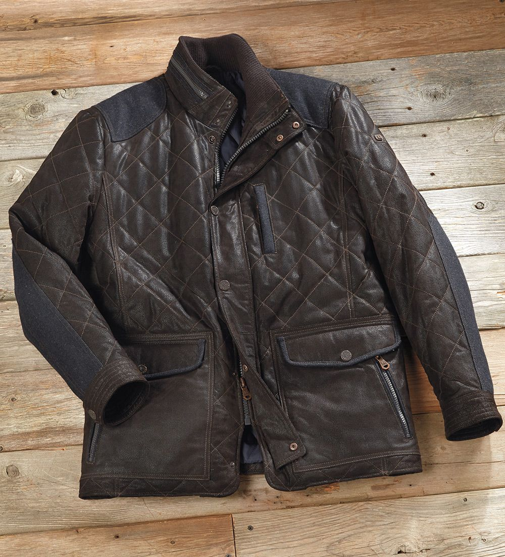 Patrick James Quilted Oiled Leather Jacket