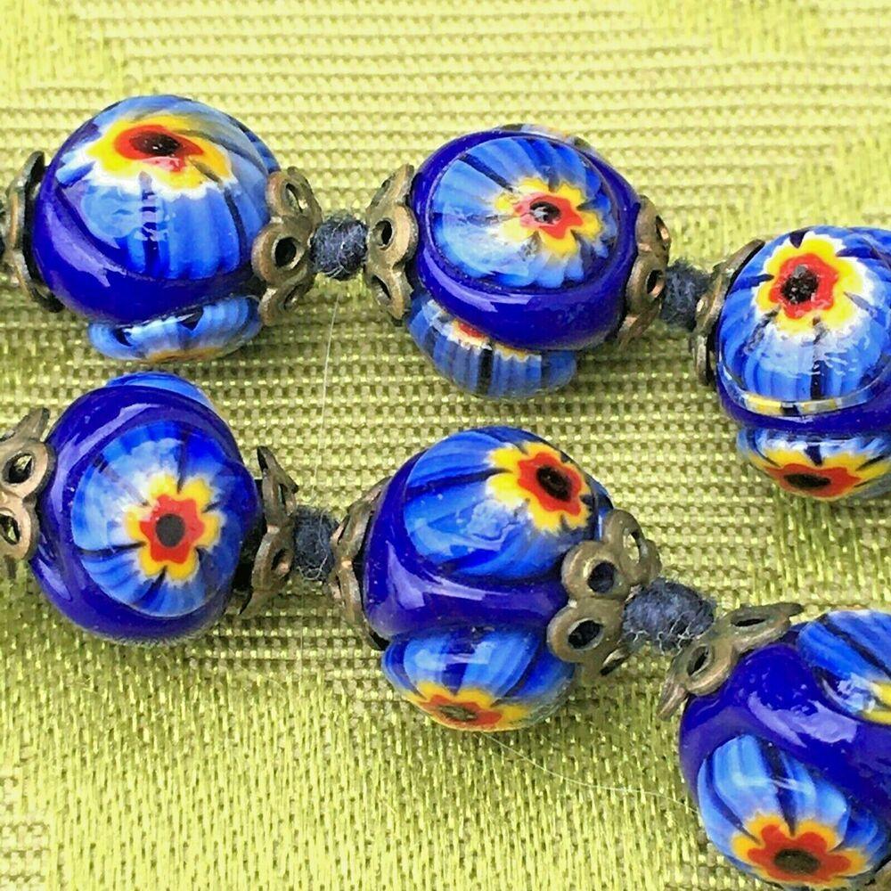 Murano Glass Beads Venetian Glass Beads Silver Foil Beads Lampwork Glass Beads 3 PCs Lampwork Pendant Handmade Glass Beads Focal Beads