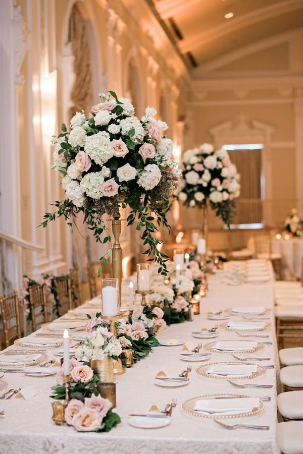 Soft romantic florida wedding rose centerpieces