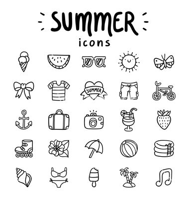 summer icons outlined vector image on vectorstock bullet journal doodles summer icon bullet journal inspiration summer icons outlined vector image on