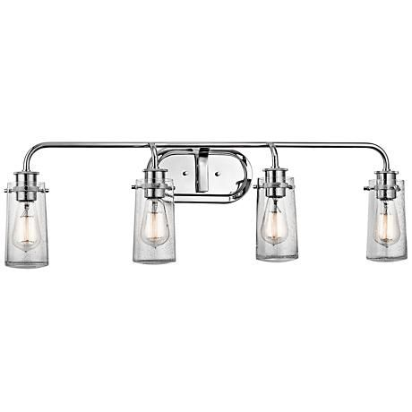 Kichler Braelyn 4 Light 34 1 4 W Seedy Glass Bath Light 8v824 Lamps Plus Vanity Lighting Farmhouse Vanity Lights Bathroom Lighting