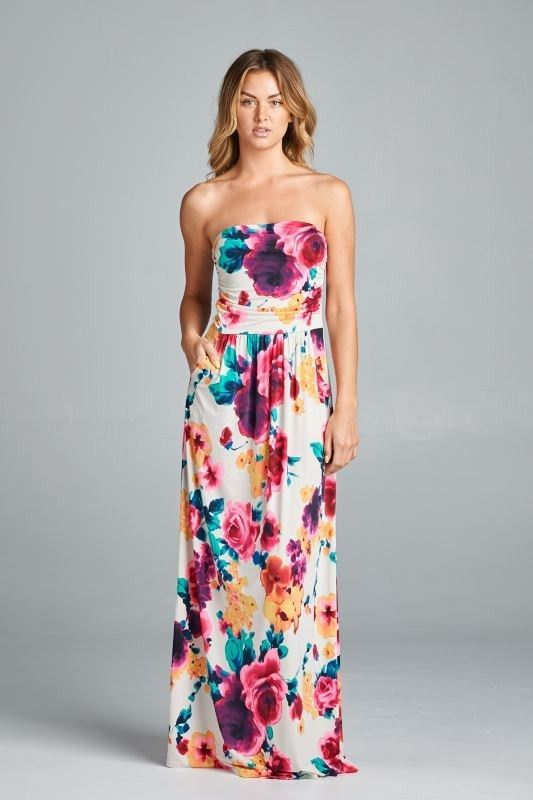 Ivory multi-color print maxi dress