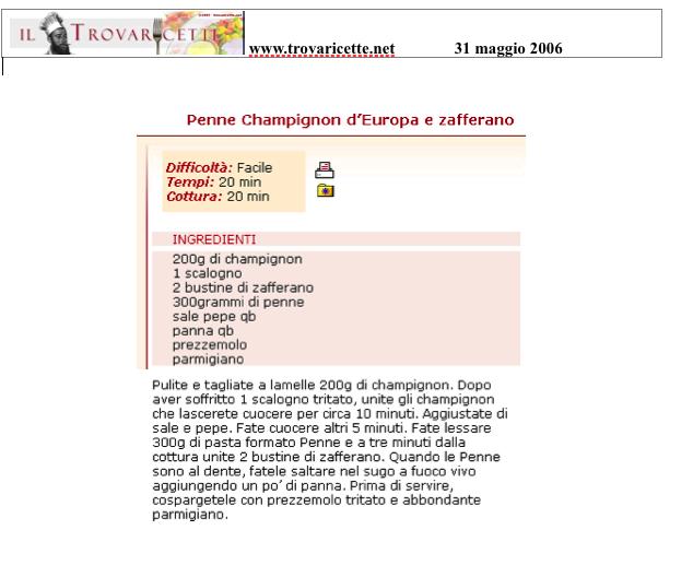 """Penne Champignon e Zafferano - """"Trovaricette.net"""" Maggio 2006"""
