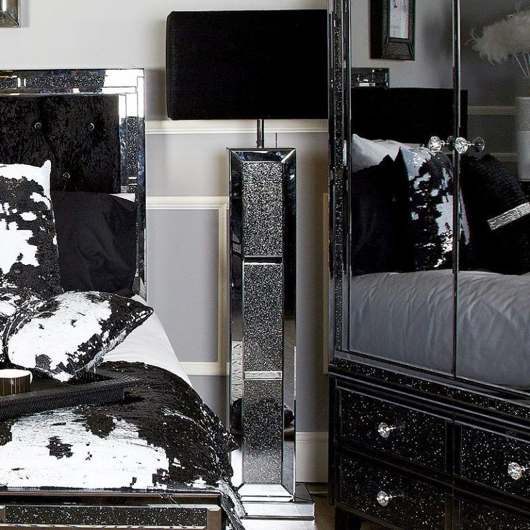 Diamond Glitz Noir Smoked Mirrored Brick Floor Lamp With 22 Inch Shade Brick Flooring Floor Lamp Contemporary Floor Lamps