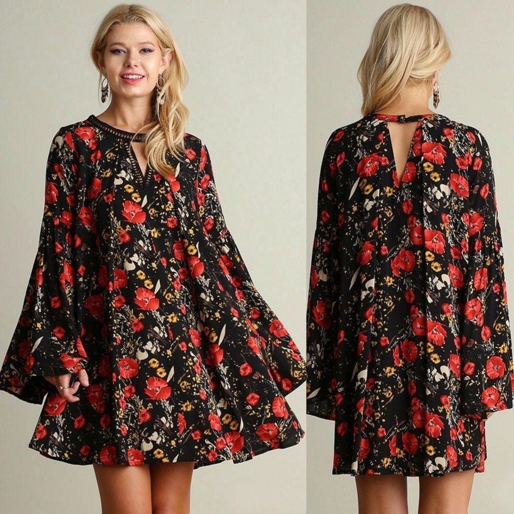139cab8558534 Umgee Boho FLOWY Black Floral Print Bell Sleeve Keyhole Swing Dress Crochet  S-L #UmgeeUSA #Shift #Casual