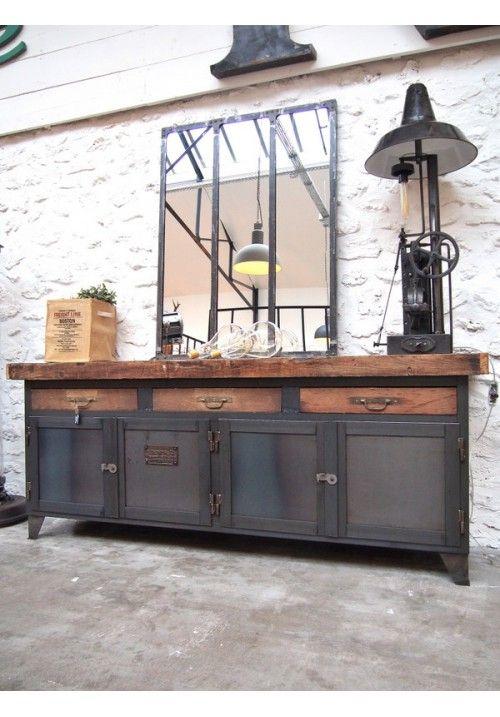 Etabli D Atelier Metallique Meuble Decoration Style Industriel Deco Maison