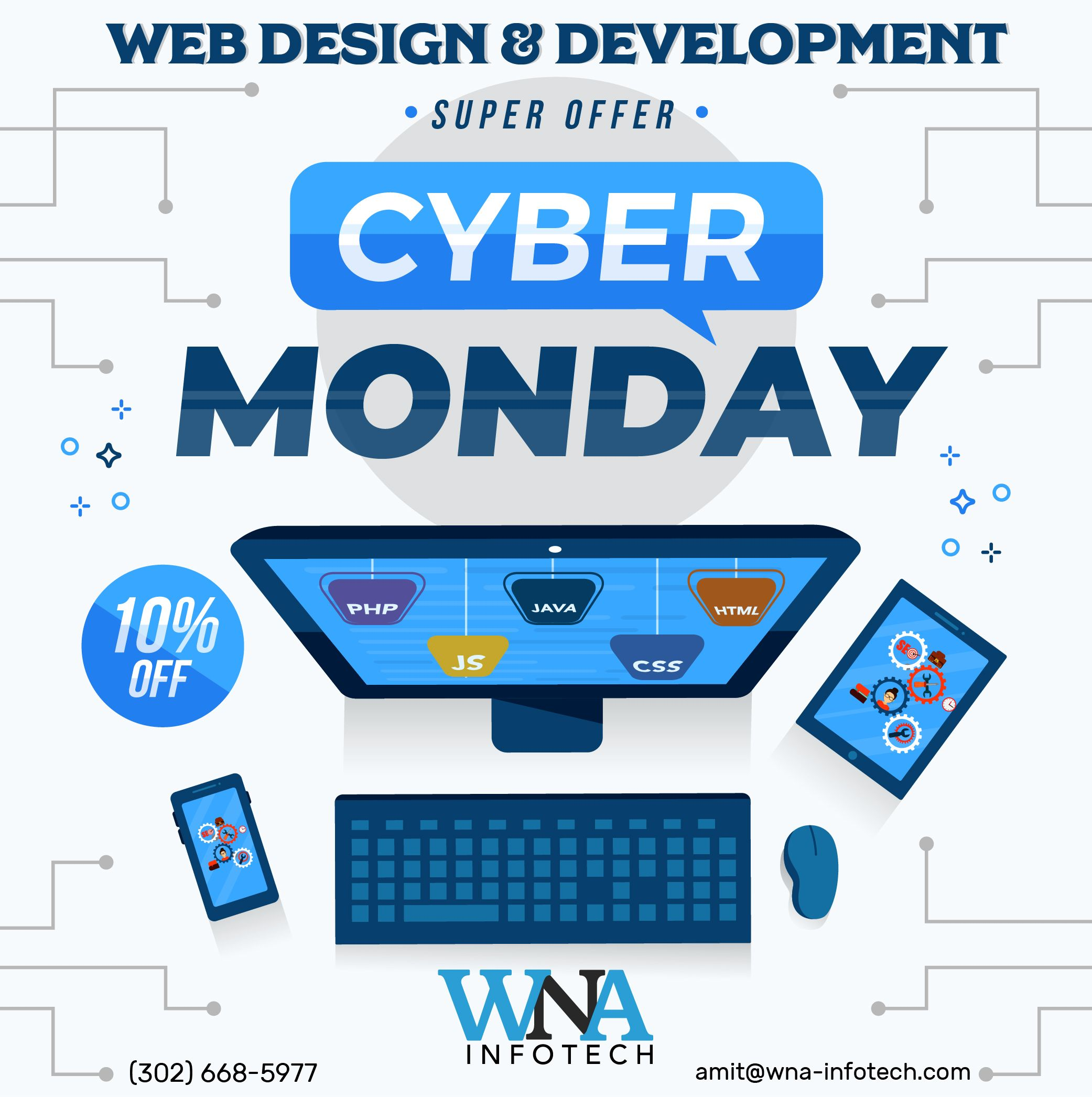Cyber Monday Super offer Save 10 Off with WNA Infotech
