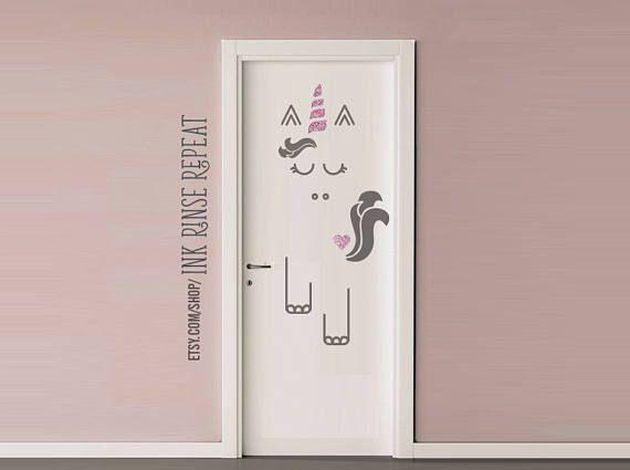 Unicorn Kids Door Decals Playrooms Closet Doors Pinterest