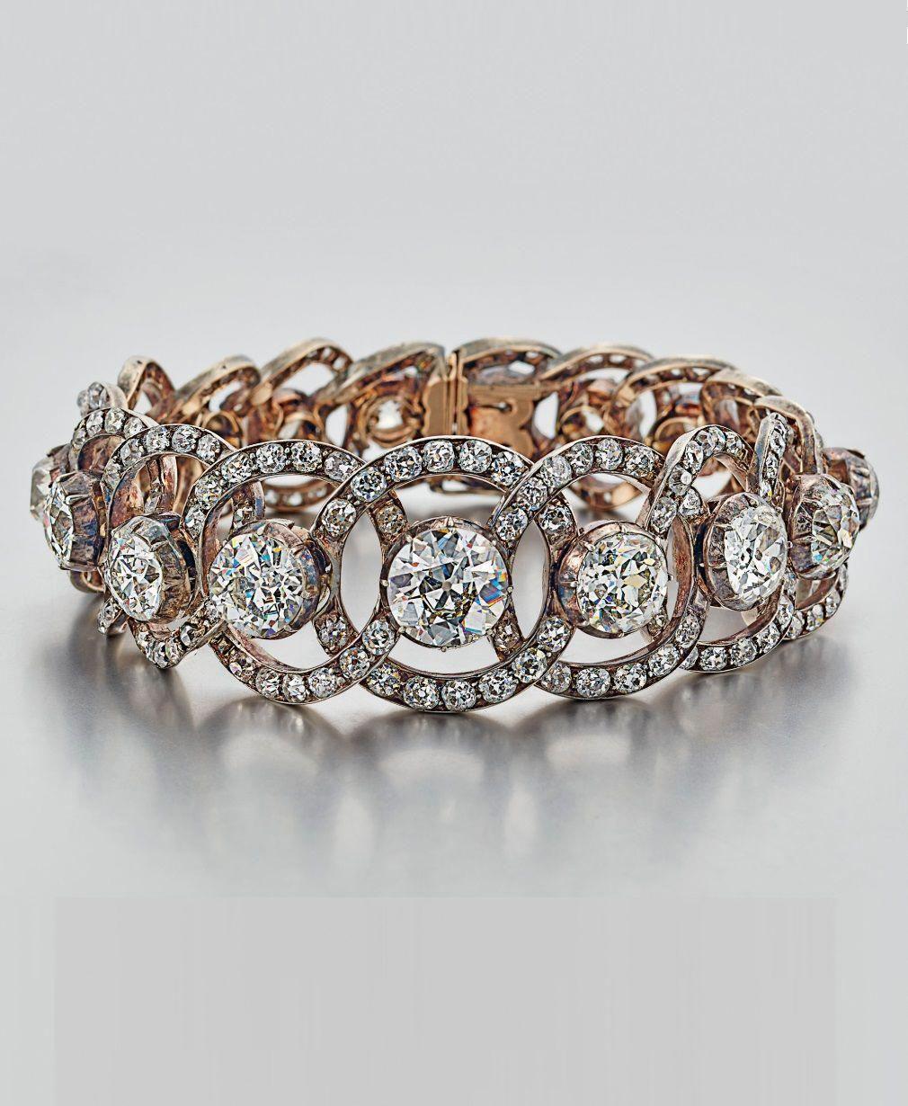 A victorian diamond bracelet circa oldcut diamonds silver