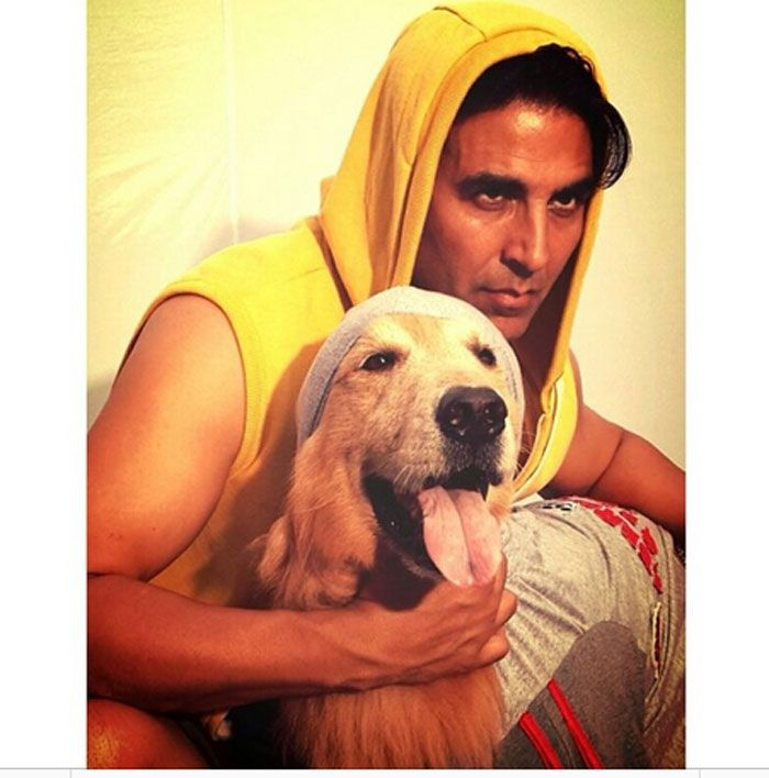 Akshay Kumar's picture with his adorable dog. #Style #Bollywood #Fashion  #Handsome