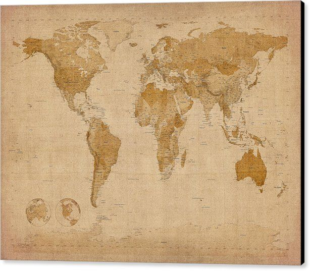 World Map Antique Style Canvas Print in 2019 | Study/Library ...
