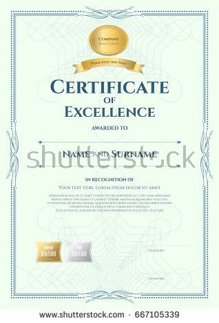 Certificate Of Excellence Template | Portrait Certificate Of Excellence Template With Award Ribbon On