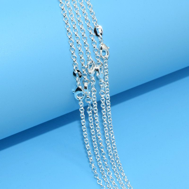 5PC Fashion Jewelry 925 Sterling Silver 2 mm Cross Link Chain 16''-30'' Women's Pendent Chain Necklace Lobster Clasp