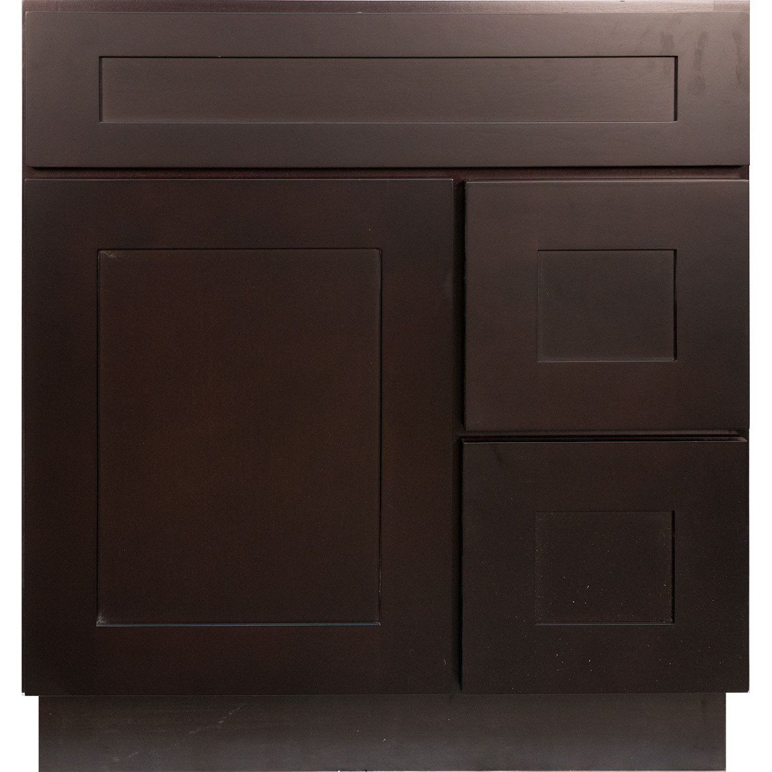 Pics On  Inch Bathroom Vanity Single Sink Cabinet in Shaker Espresso Dark Brown with Soft