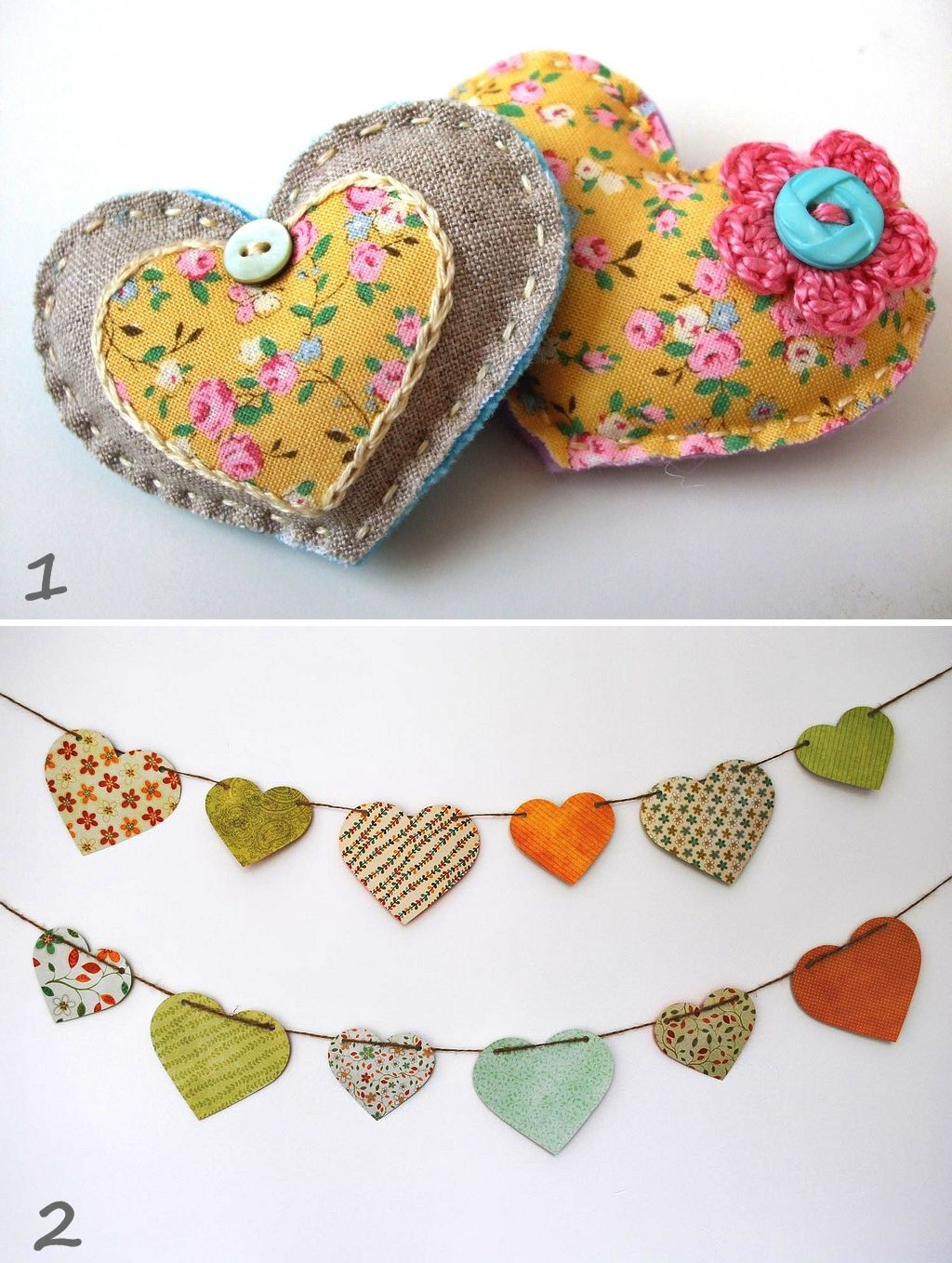 Heart garland with reds,whites and  burlap and the same with the puff hearts