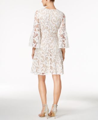 Jessica Howard Bell Sleeve Lace Fit Flare Dress Ivory