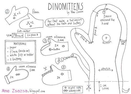 Dinomittens   Mittens pattern, Polar fleece and Mittens