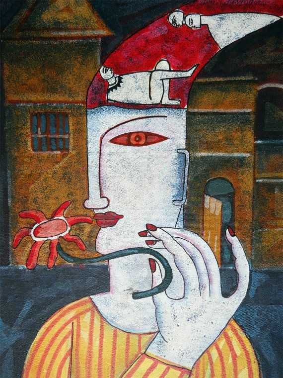 The Thinking Jester: Painting in Acrylic and Oil on Canvas @Etsy