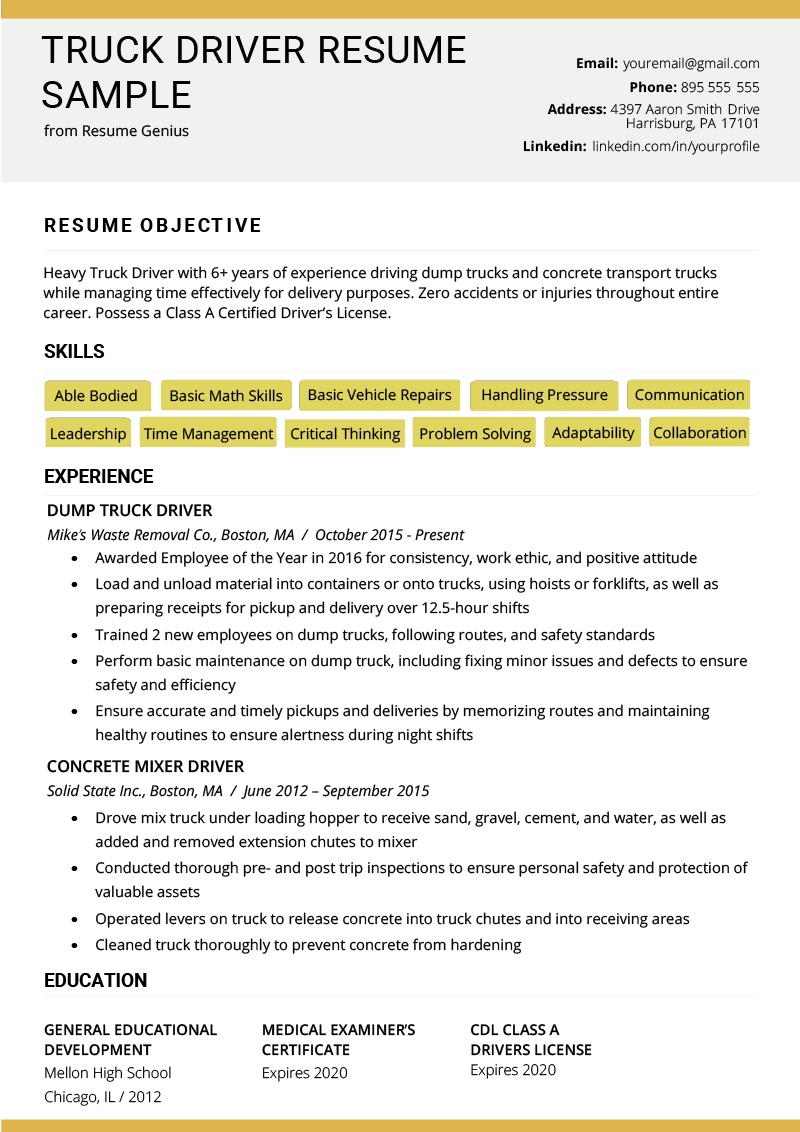 Truck Driver Resume Sample and Tips Resume examples