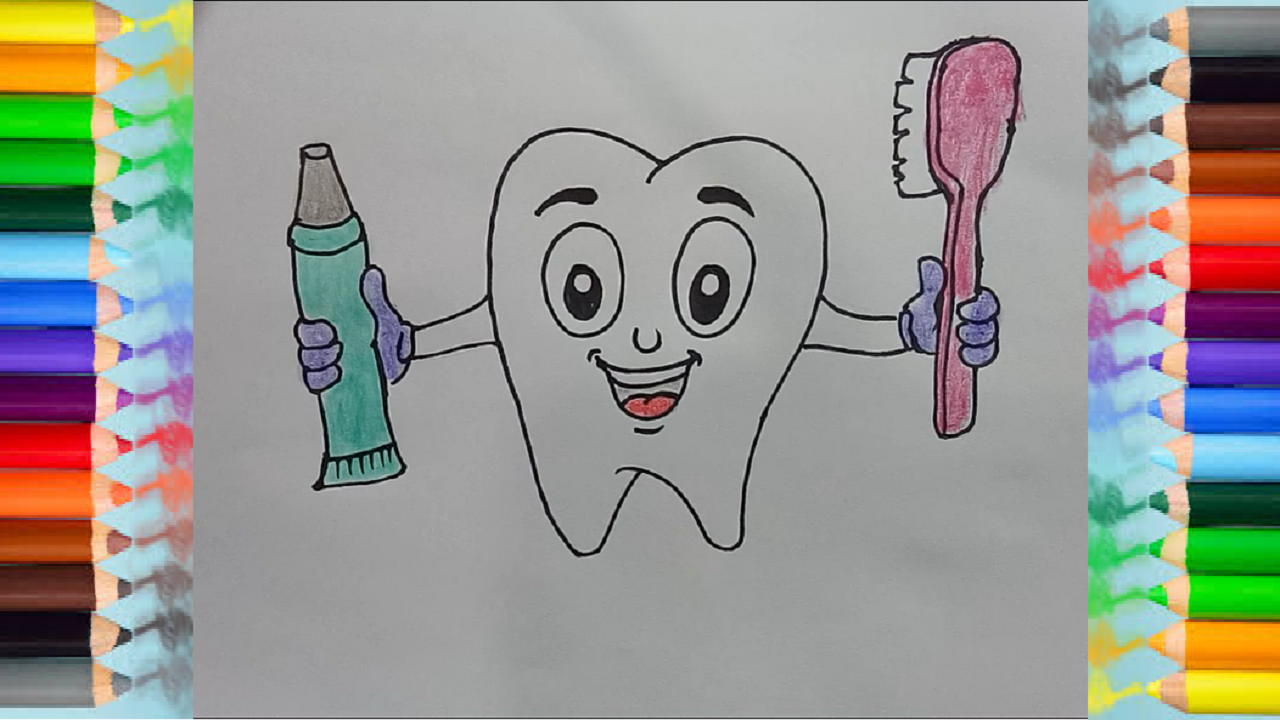How To Draw Cute Cartoon Teeth Drawing For Kids Cute Drawings Drawings