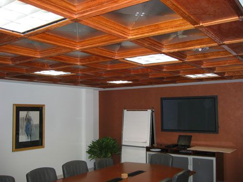 Coffered Ceiling, Wood, Drop, Suspended Ceilings, Panels and Tiles