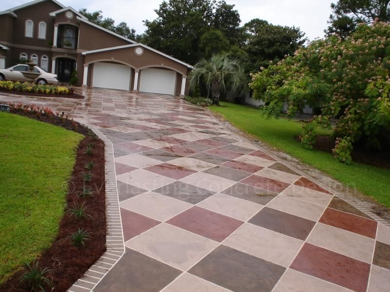 concrete driveway stencil patterns with paver border best driveway replacement ideas - Concrete Driveway Design Ideas
