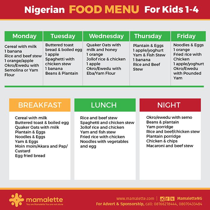 Back To School Food Menu 011 Nigerian Food Kids Meal Plan Meal Time