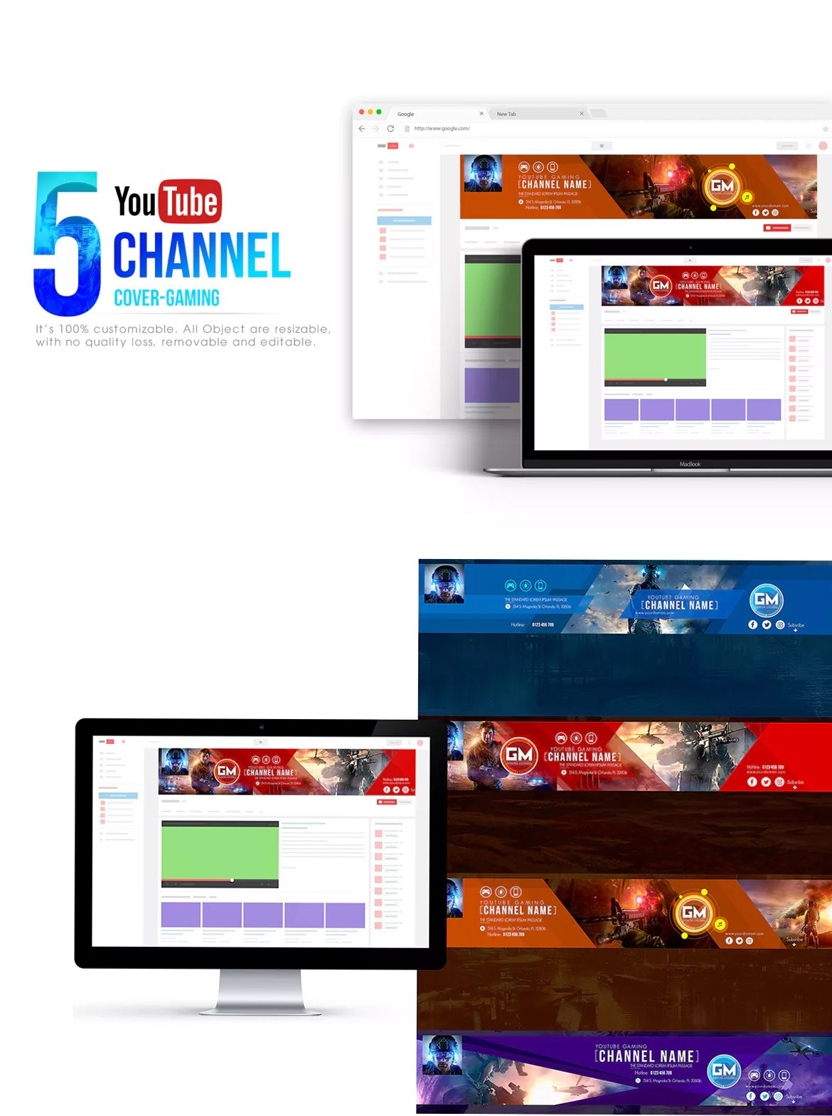 Gaming Channel-Youtube Banner Template PSD   Youtube Banner ...