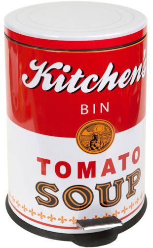 Poubelle DE Cuisine Tomato Soup Rouge ET Blanc Métal 20 L Pédale