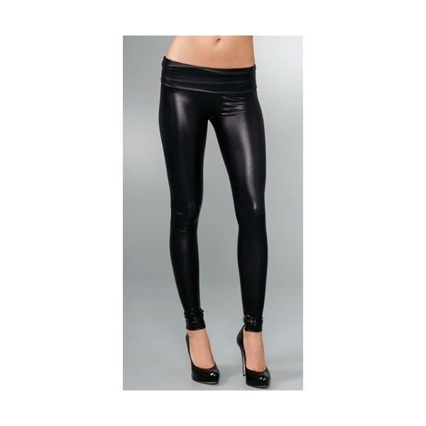 Members Only Liquid Leggings Black ($88) ❤ liked on Polyvore featuring pants, leggings, black trousers, leggings pants, black wet look leggings, wet look leggings and members only
