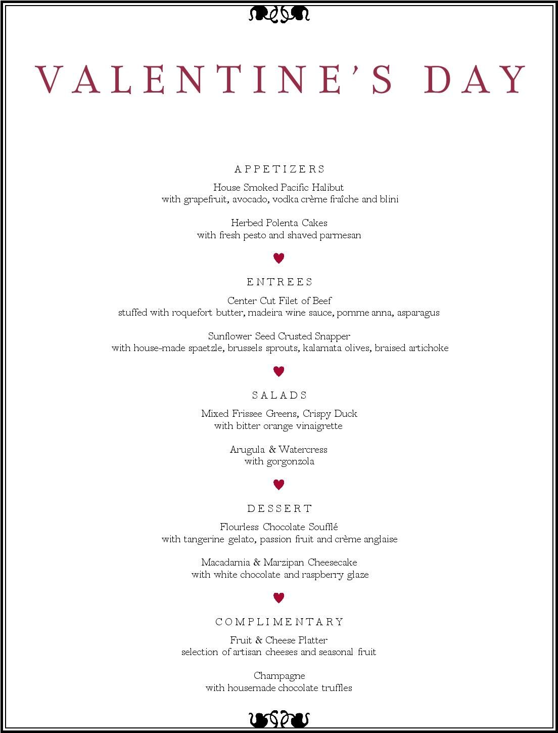 valentine's day dinner menu - musthavemenus | printables | pinterest