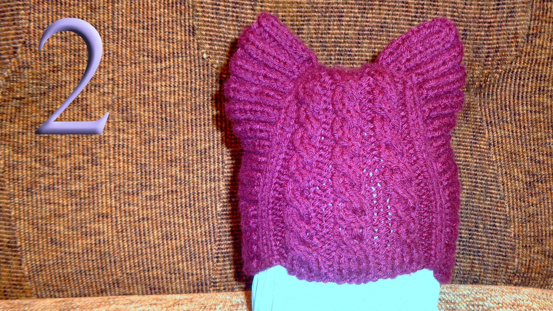 женская шапка с кошачьими ушками спицами схема