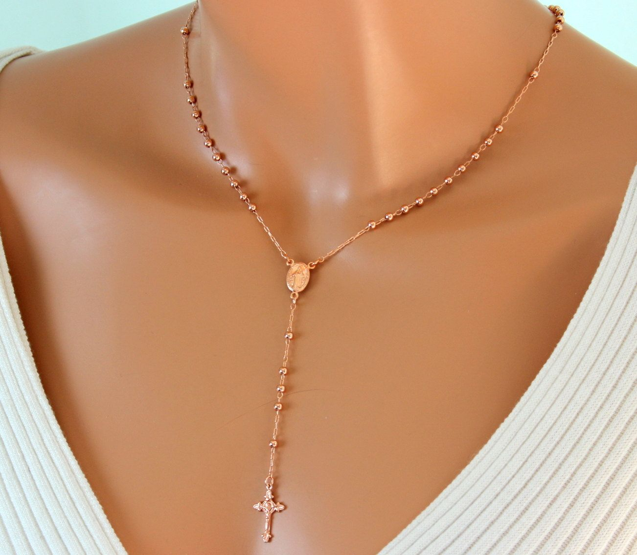 BEST SELLER Rose Gold Rosary Necklace Women, Cross Necklaces Catholic Rosary Jewelry Miraculous Confirmation Gift Yoland Foster #rosaryjewelry