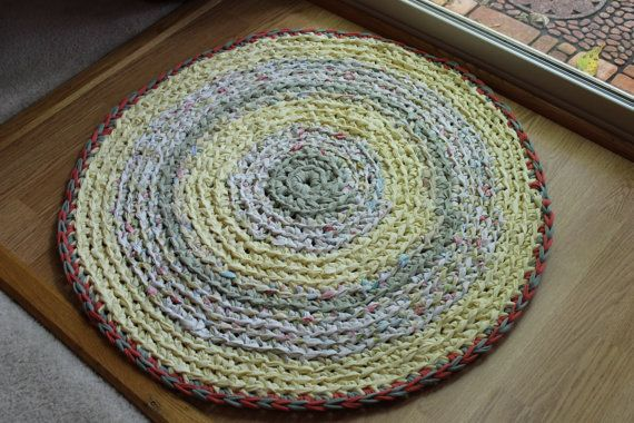 Yellow Sage Green And A Hint Of Pink Round Rag Rug By Esterap